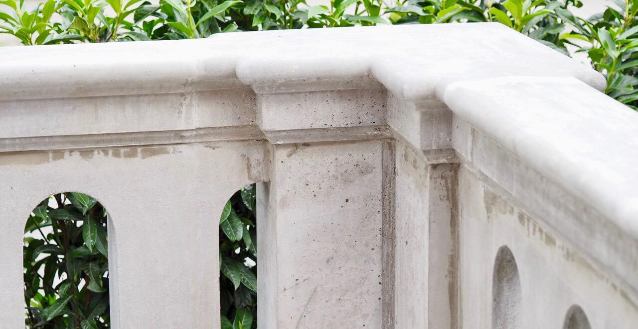 Balustrade i beton hjørne af stukkatør Jacobsen-Friis